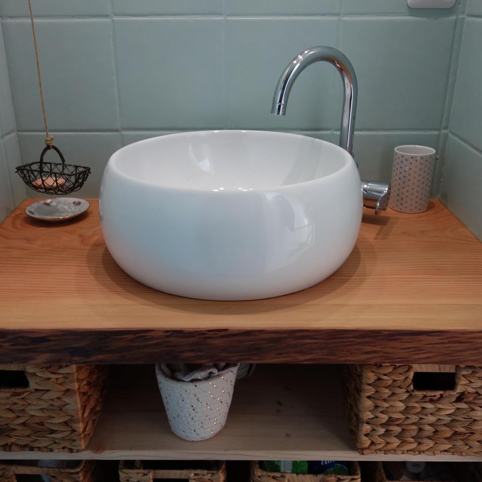 Meuble salle de bain bois brut Salvateur