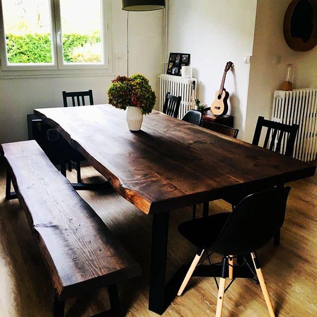 table et bancs en bois pour séjour - Salvateur